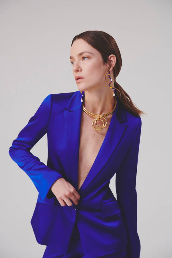 Galvan London Single Breasted Satin Blue Jacket