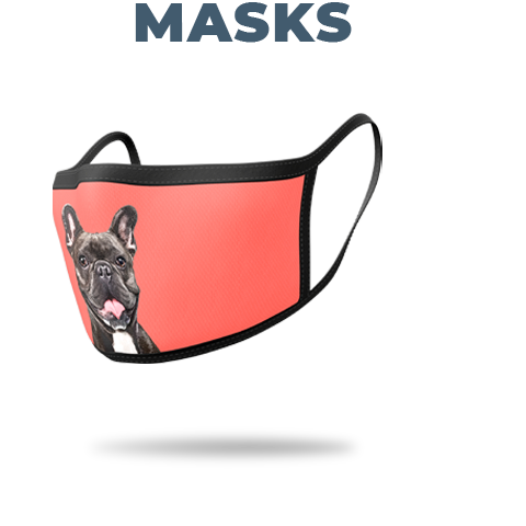 french bulldog on face mask