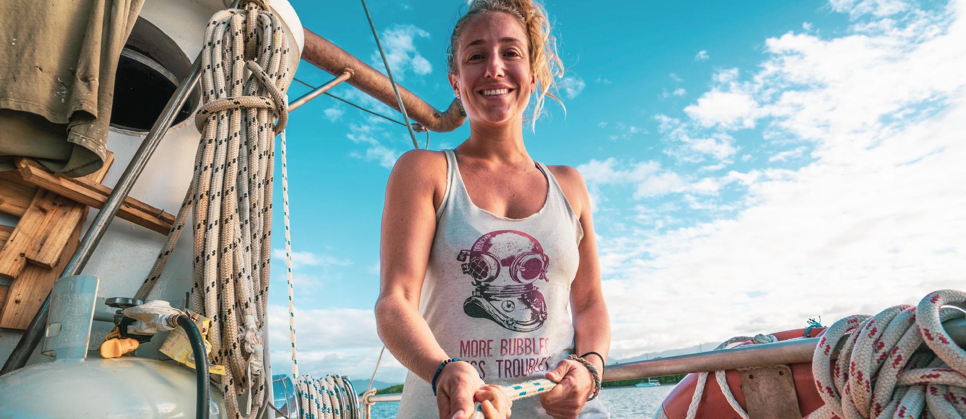 Women's Vintage Scuba Diving Racerback Tank - More Bubbles Less Troubles | Expedition Drenched