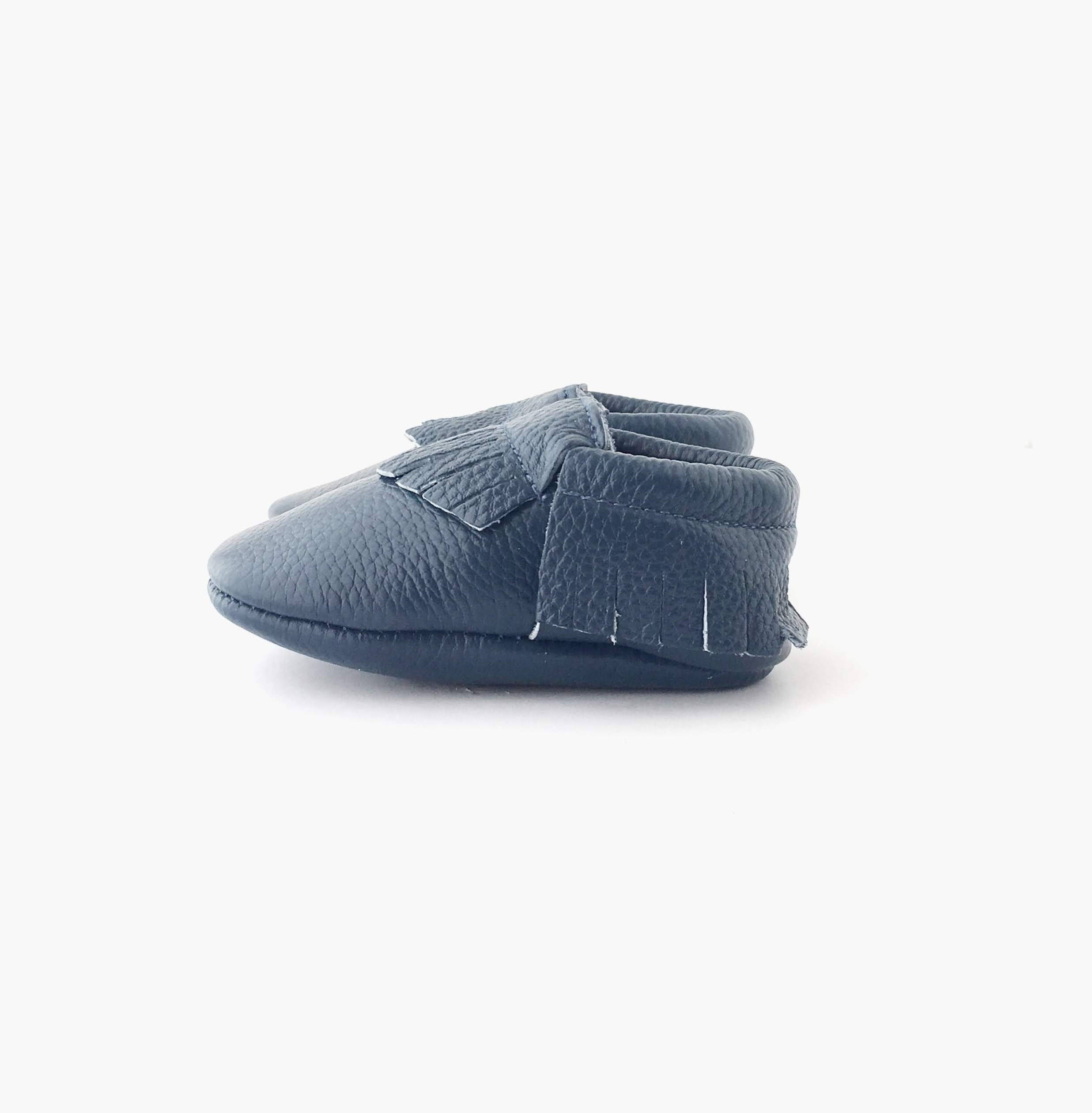 Steel Blue colour soft sole shoes with fringe sole view