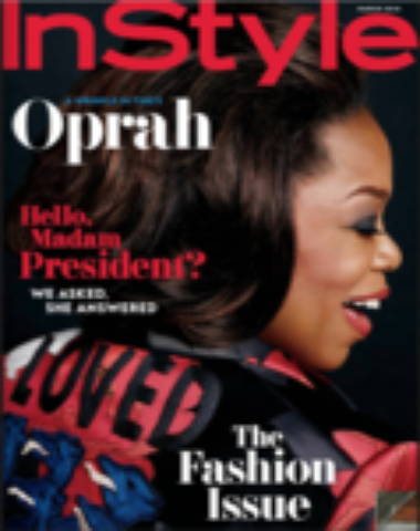 In Style magazine cover with Oprah smiling over her shoulder, headshot