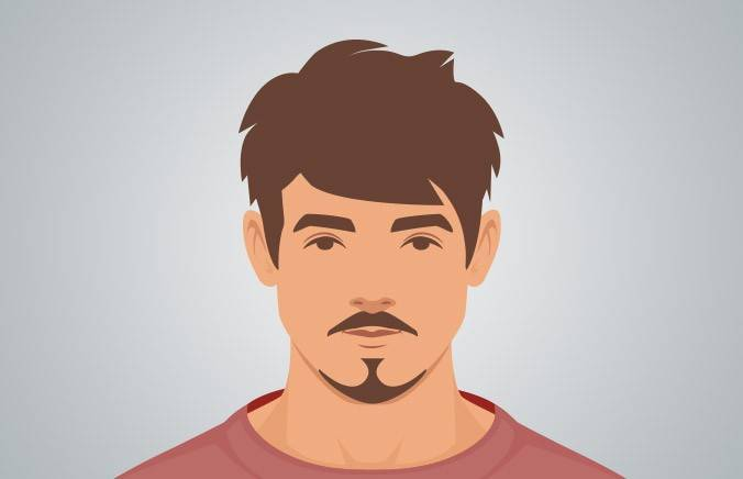 ANCHOR BEARD - A pointed beard that traces the jawline, paired with a mustache