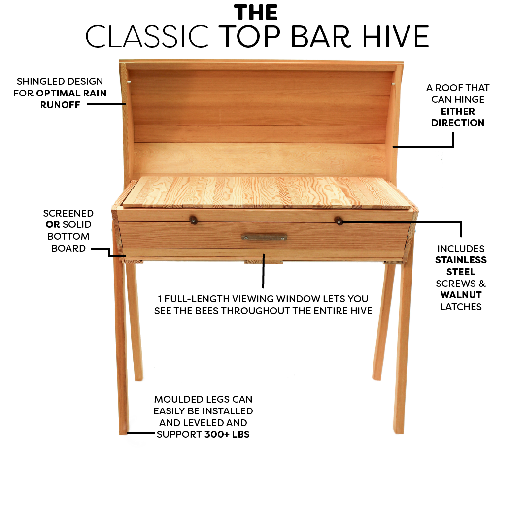 Product features of the Bee Built Top Bar hive.