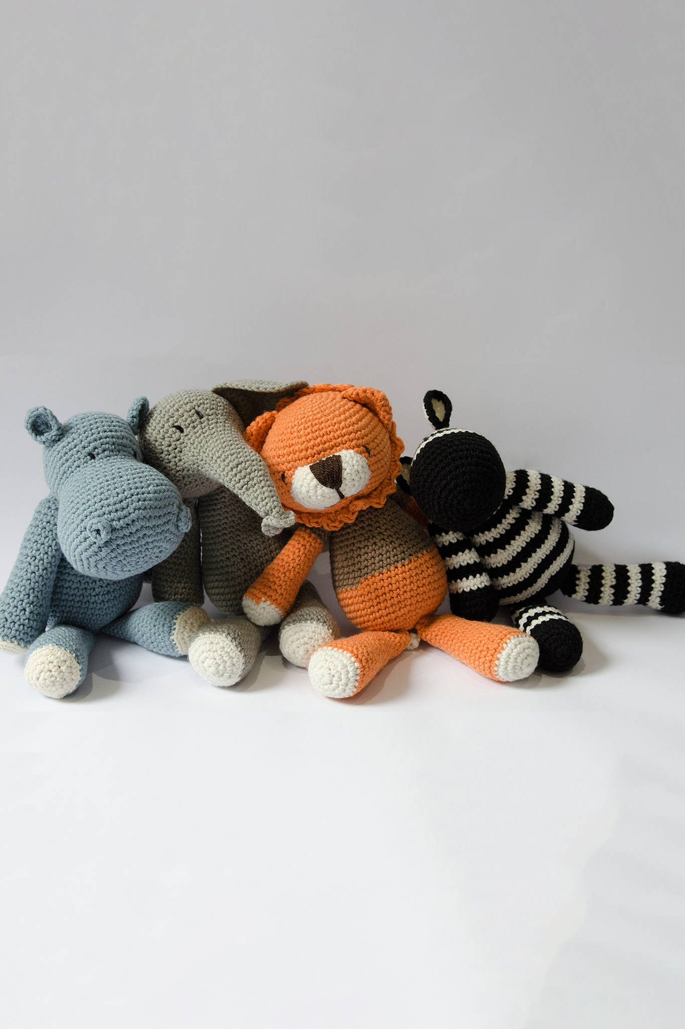 SAVANNAH CROCHETED ANIMALS Crocheted animals. All cuddle, no bite. 54kibo exclusive