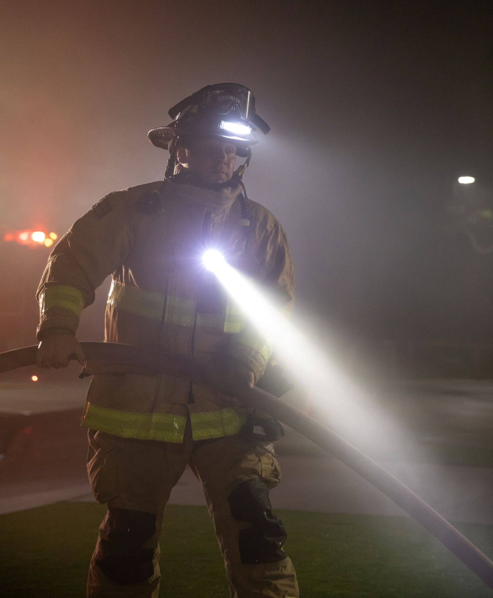 Firefighter uses Breakthrough right angle light to work hands free.