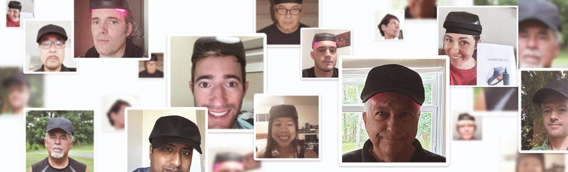 Selfie montage collected from illumiflow laser cap reviews