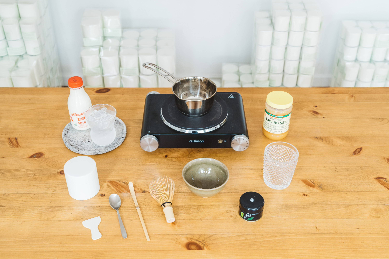 Equipment needed to make matcha latte