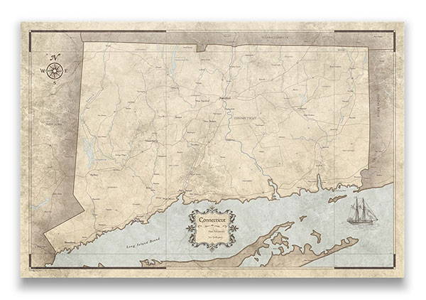 Connecticut Push pin travel map rustic vintage