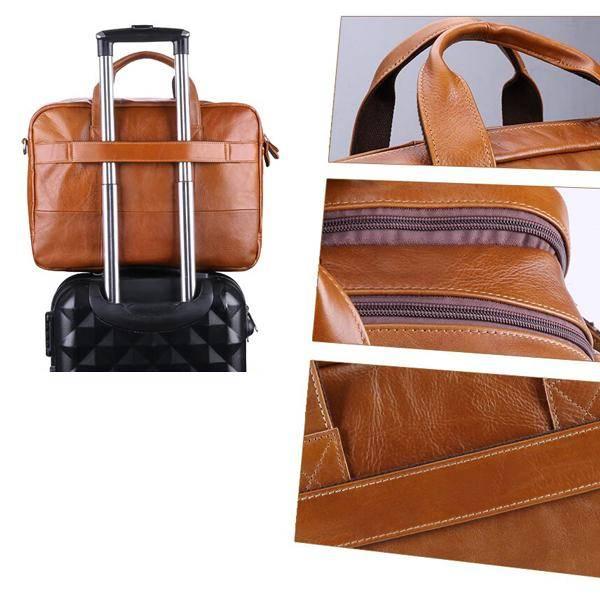 Men's Leather Laptop Bag Briefcase for 15 Inch Laptops