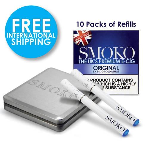 E Cigarette Starter Kit. 10 packs of E-Cigarette Refills. 1 extra battery