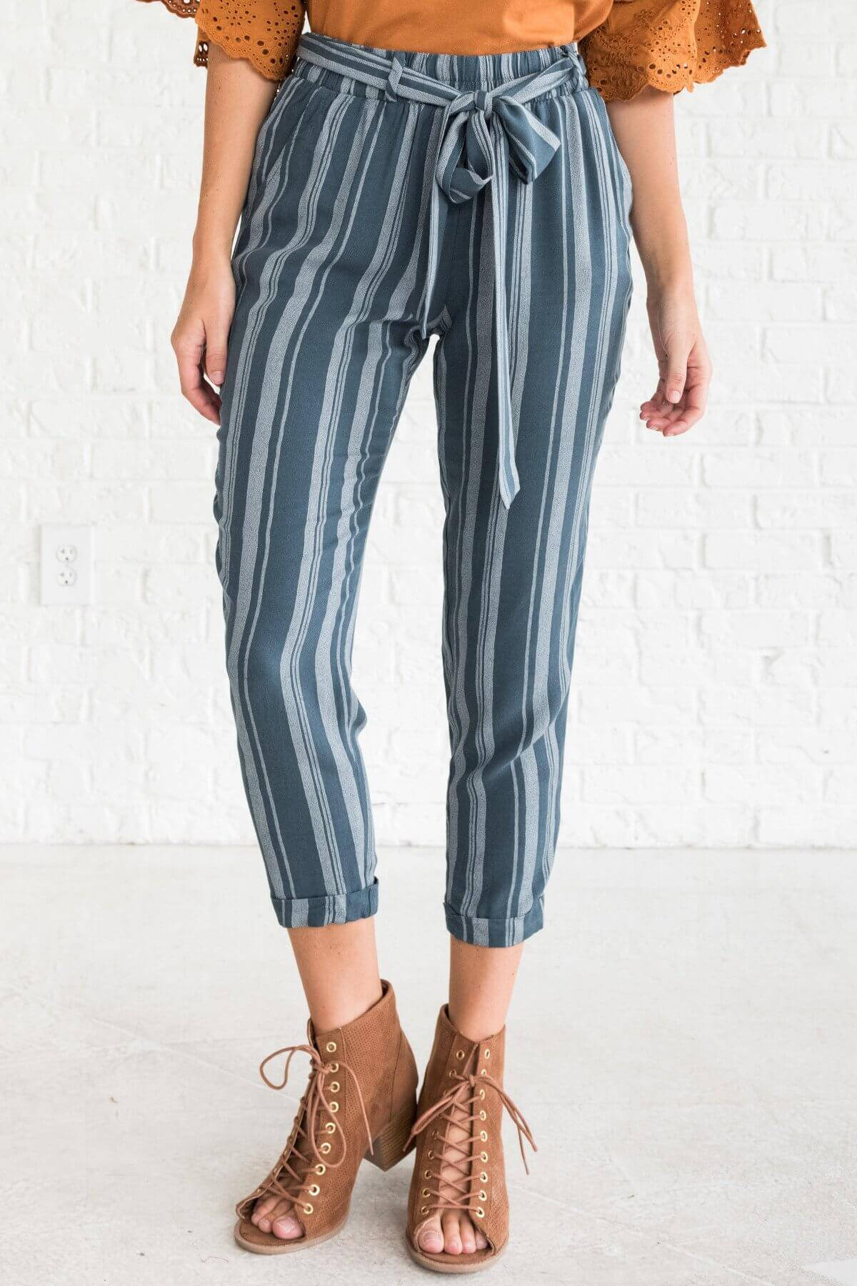 Teal Blue Striped Cute Pants Affordable Online Boutique