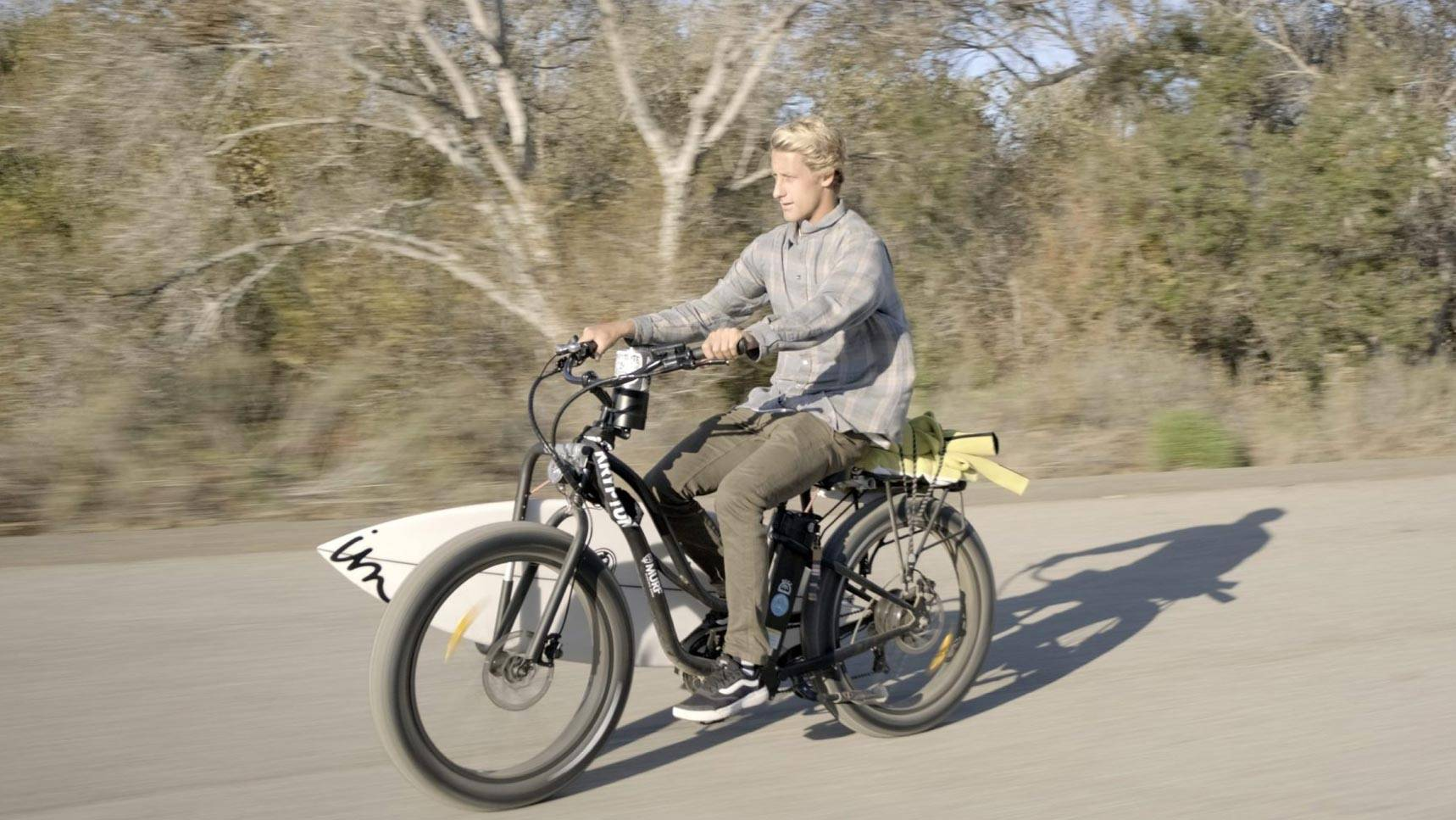 Jeremy Carter Riding Fat Pax Step-Thru Electric Bike with Surfboard | Murf Electric Bikes