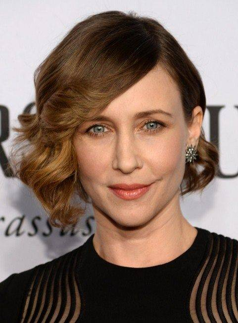 Vera Farmiga with brown asymmetrical short curly hair