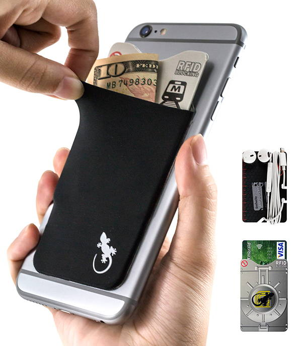 Adhesive Phone Wallet by Gecko in Black with earphone wrap card and RFID blocking card sleeve