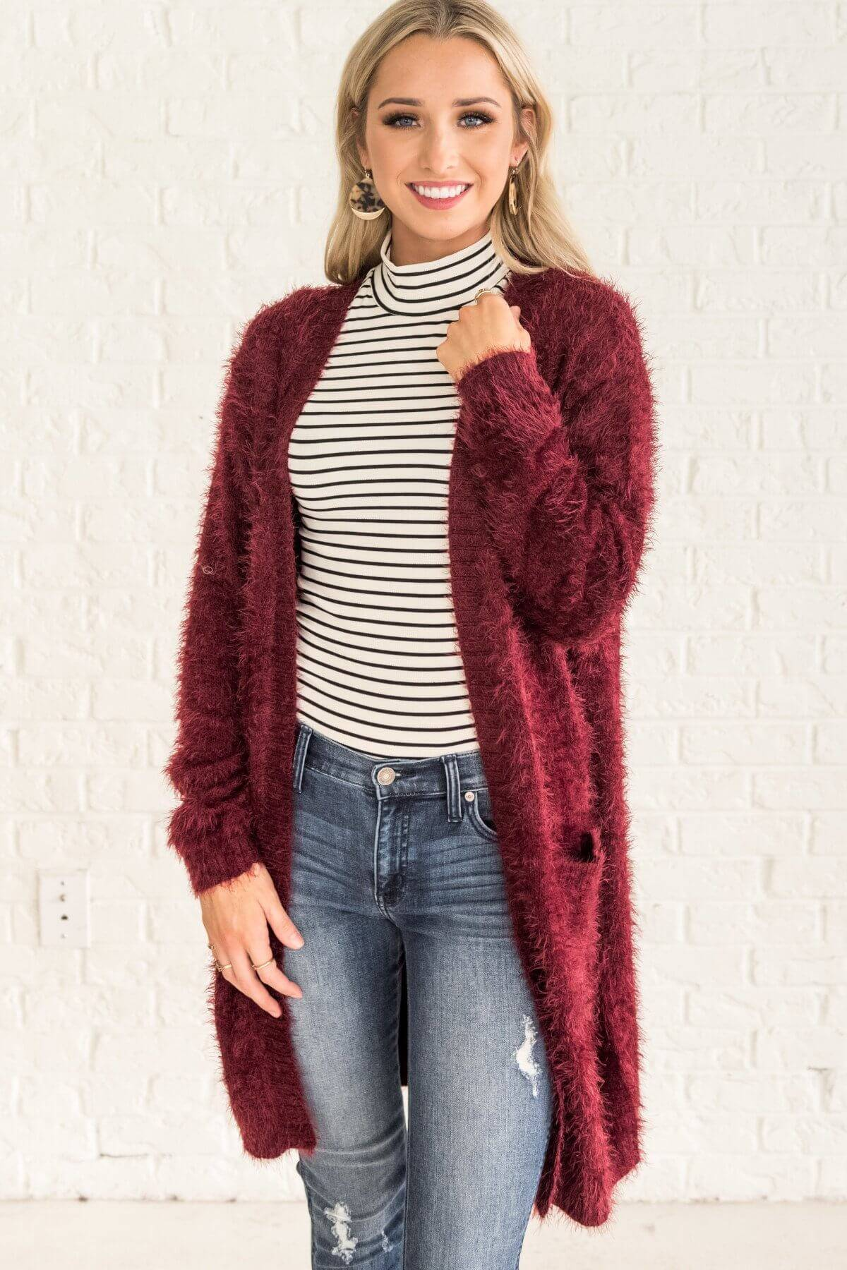 Burgundy Red Fuzzy Eyelash Knit Open Front Long Cardigans for Women