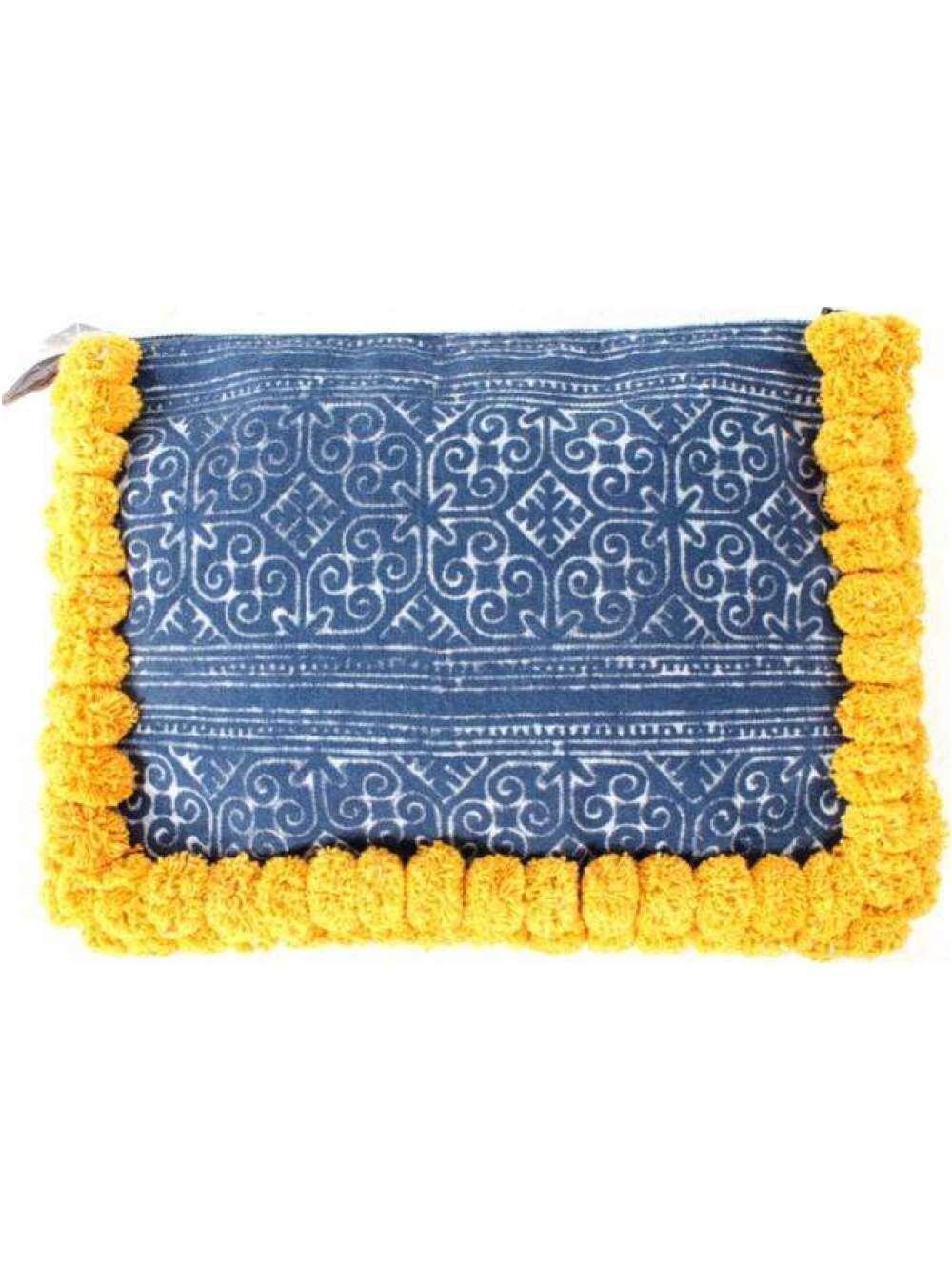Batik Oversized Clutch with Yellow Pom Poms