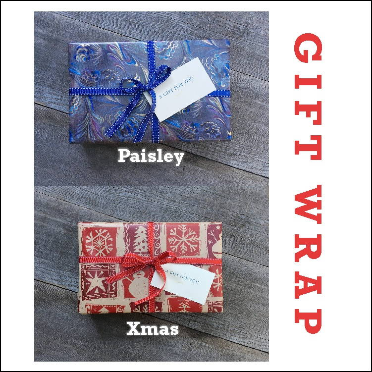 Book Safe gift wrap Paisley and Christmas