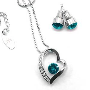 MAGIISTINO Set de Joyería de 2 Piezas con Swarovski Elements®, Melted Heart, Plateado y Azul Zirconia