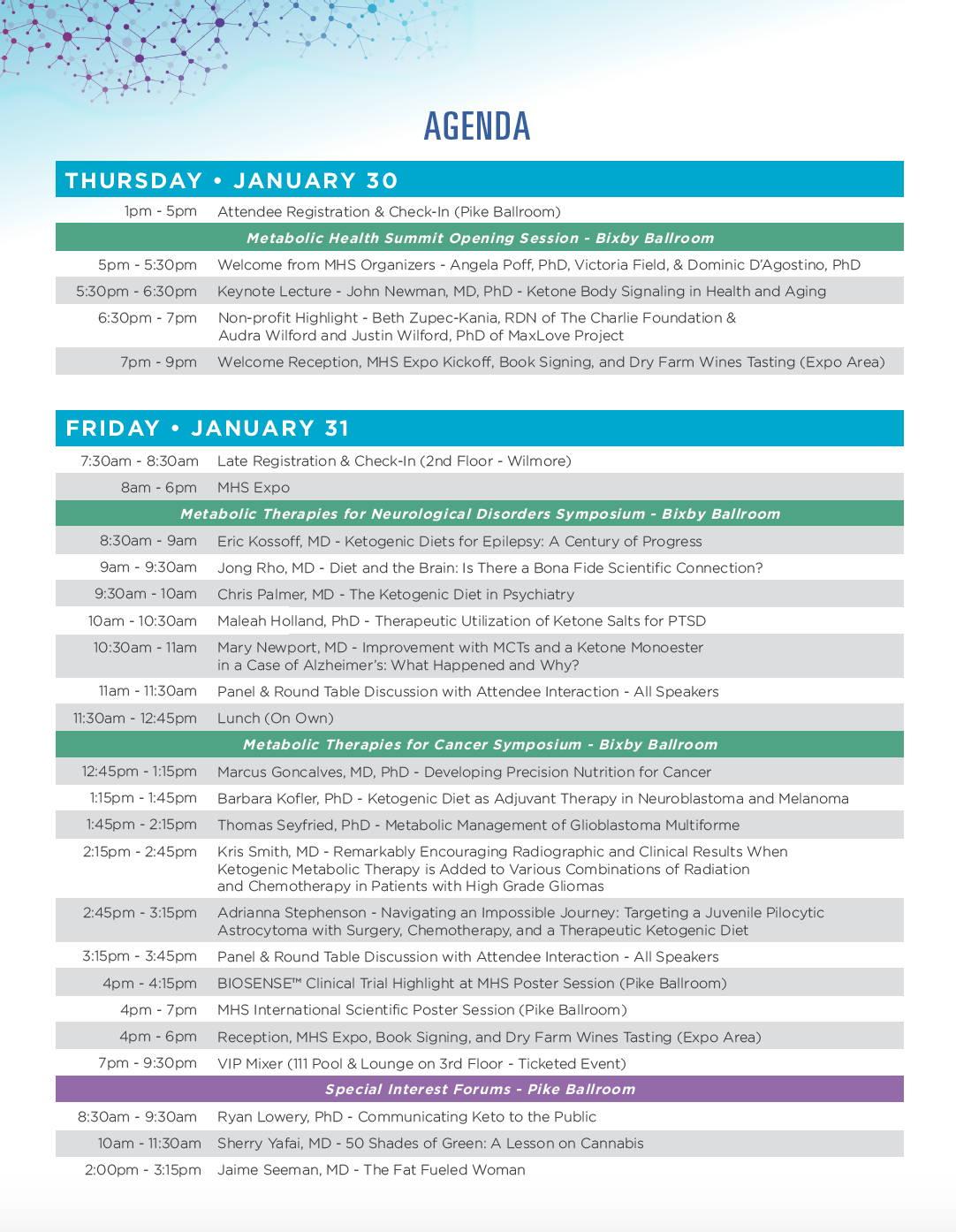 Metabolic Health Summit Schedule