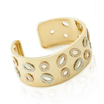 White and yellow gold wrist cuff with diamond accents