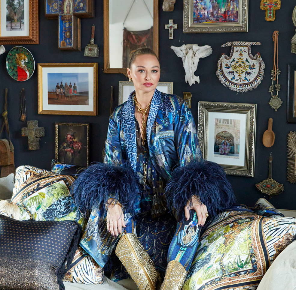 Camilla Franks in home wearing CAMILLA dripping in deco robe