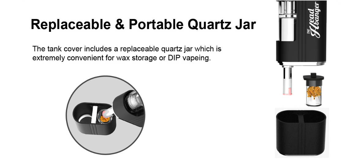 concentrate stash jar built into the wax vaporizer