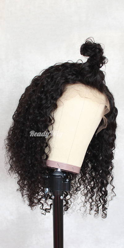 ReadyWig Black Curly Short Bob Human Hair Lace Wig 14 Inches