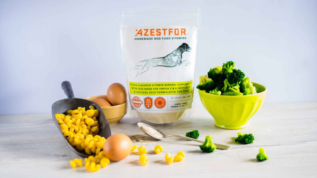 ingredients recipe homeade dog food with eggs macaroni broccoli