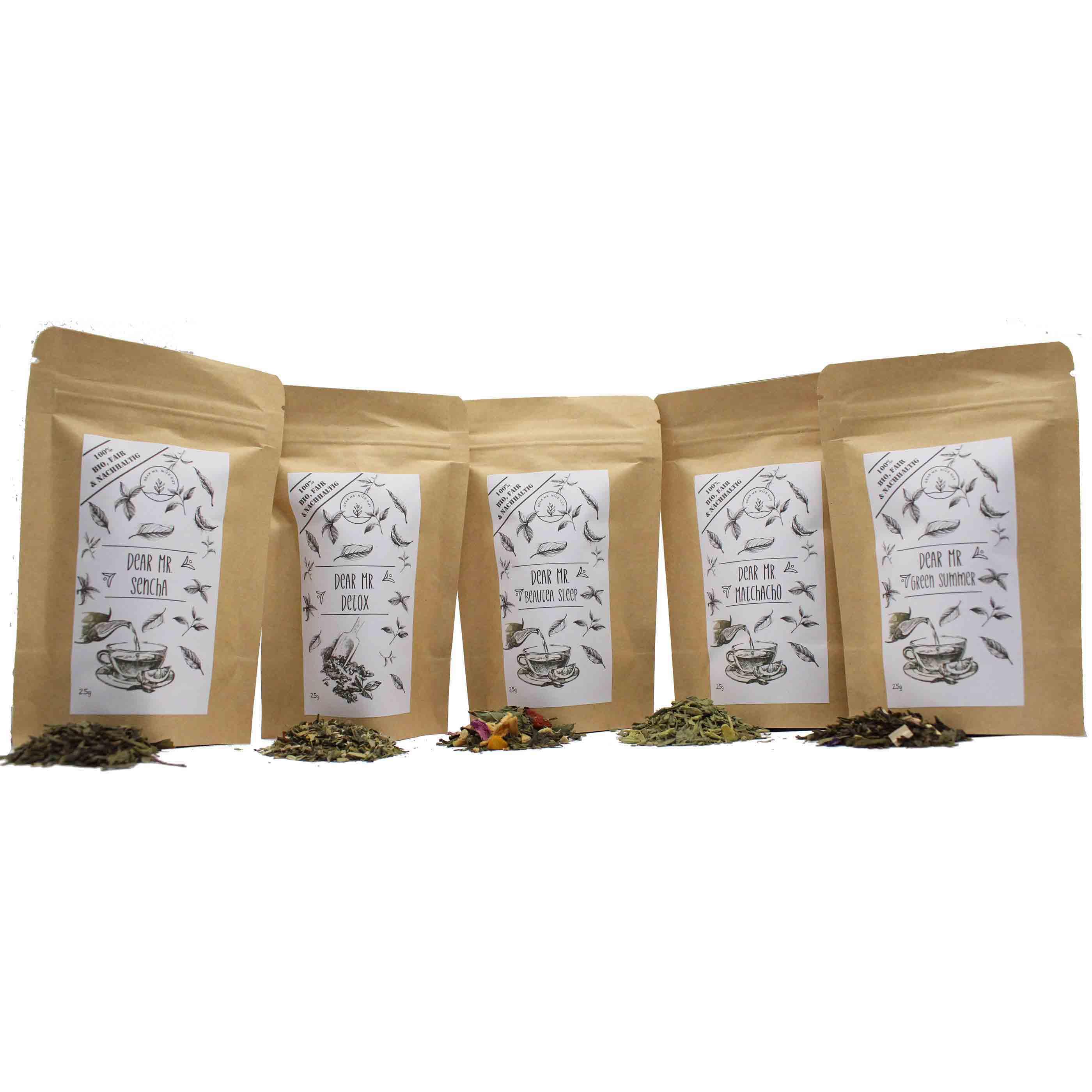 Bio Tee Probierset 5x25g verschiedene Grüntees, nachhaltig, CO²-Neutral