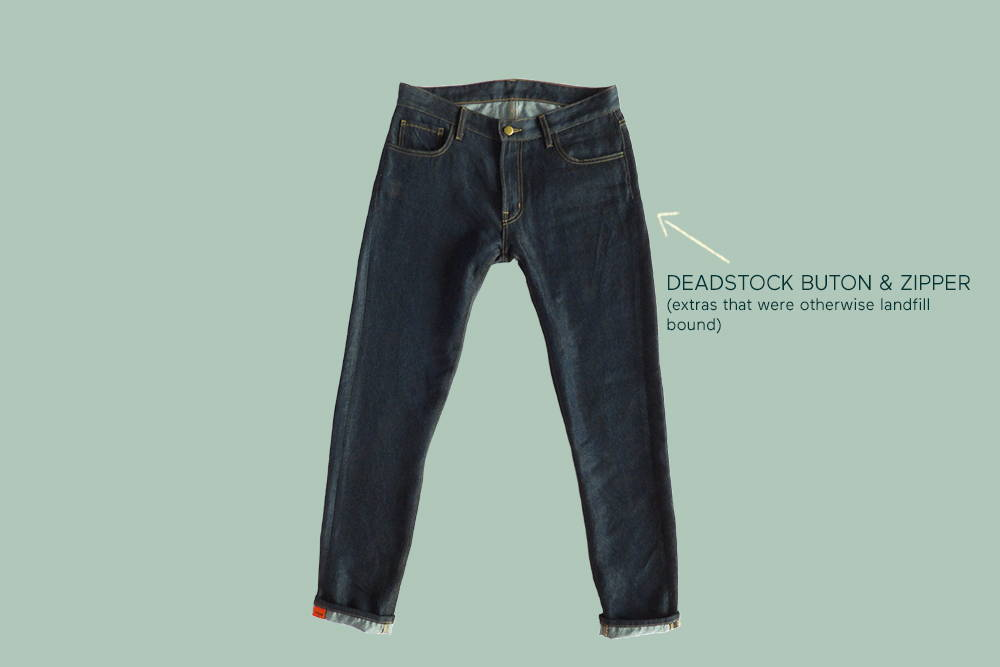 comfortable again&again jeans with an arrow pointing to deadstock buttons and zipper