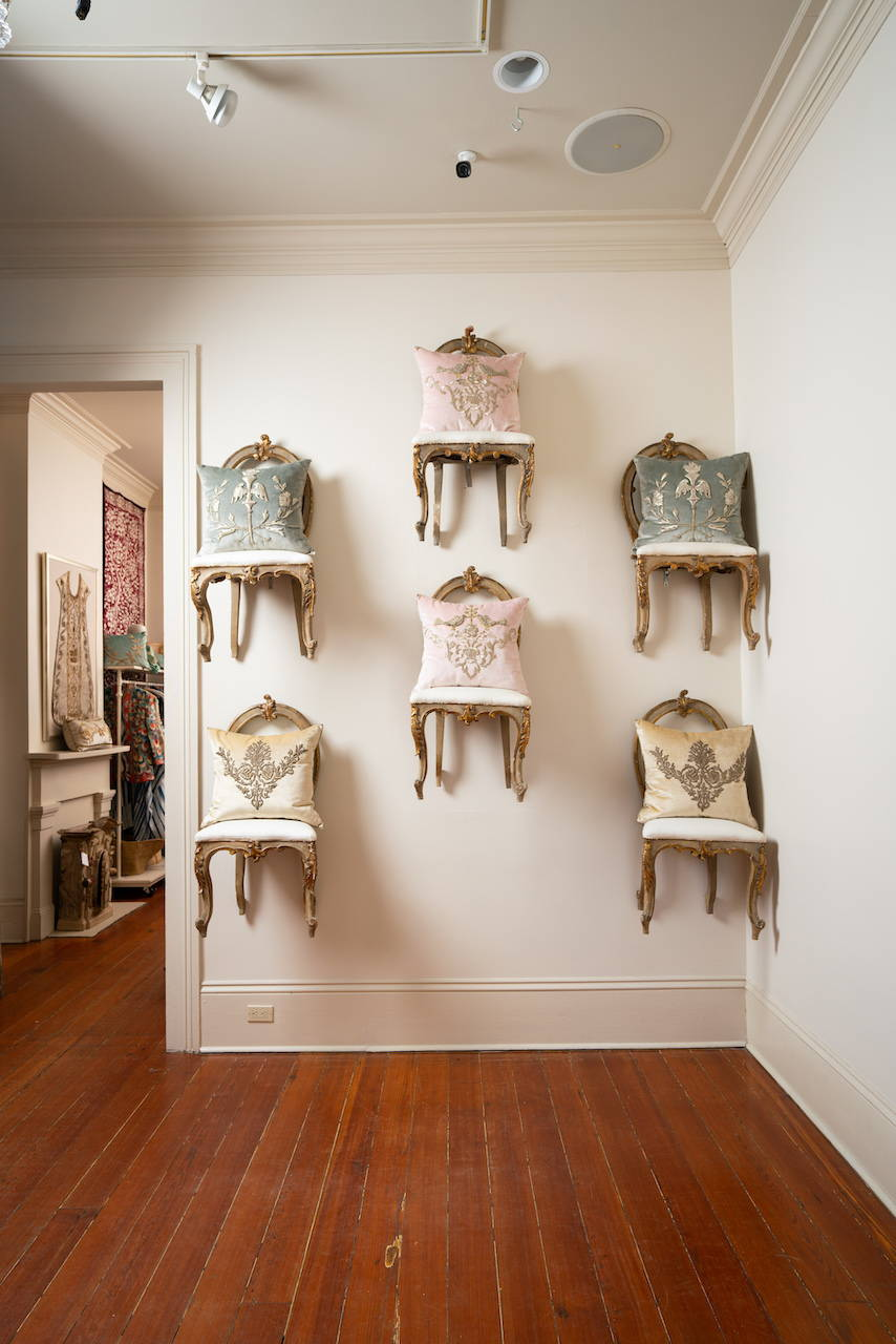 The Flying Chair Wall in the foyer of the B. Viz Design NOLA Atelier on Magazine Street in New Orleans, LA