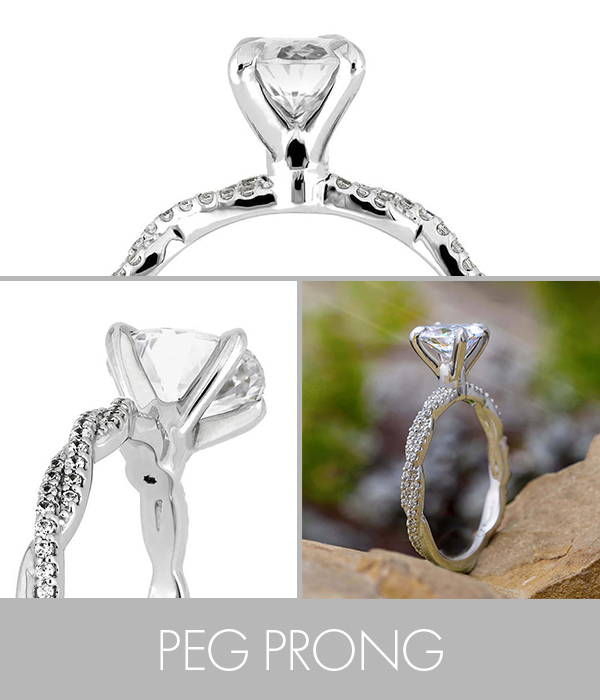 Solitaire Oval Engagement Ring with Twist Accented Band