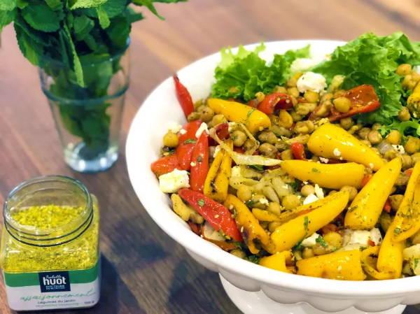 Recette de salade tiède avec poivrons rôtis de Isabelle Huot