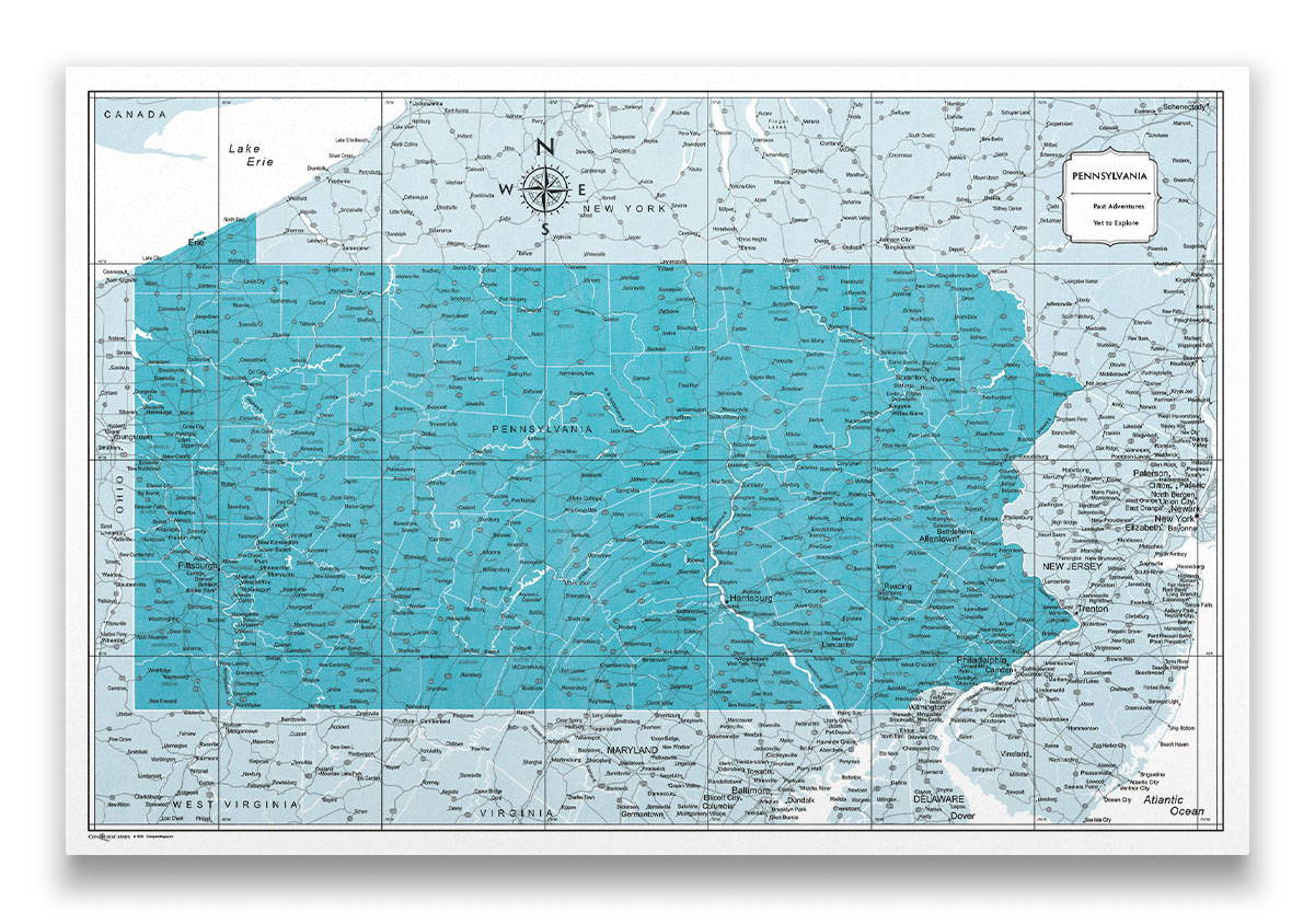 Pennsylvania Push pin travel map color splash