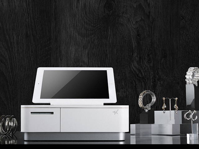 mPOP Printer with iPad tablet on optional tablet stand.