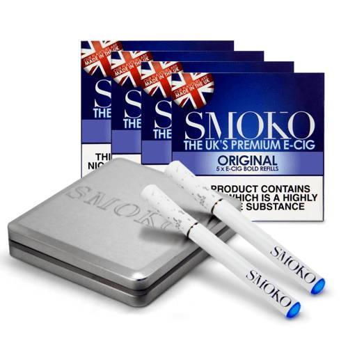 Le meilleur kit de démarrage pour les cigarettes électroniques au Royaume-Uni. 4 packs de recharges de cigarettes électroniques. 1 batterie supplémentaire e-cig