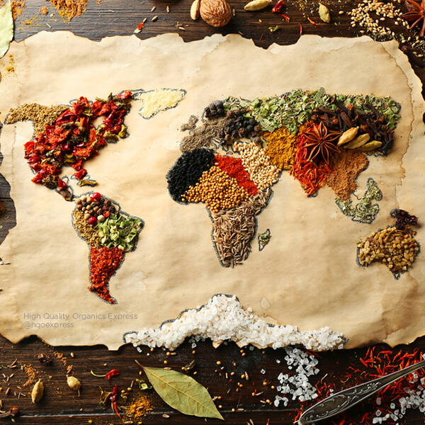 High Quality Organics Express world map of spices