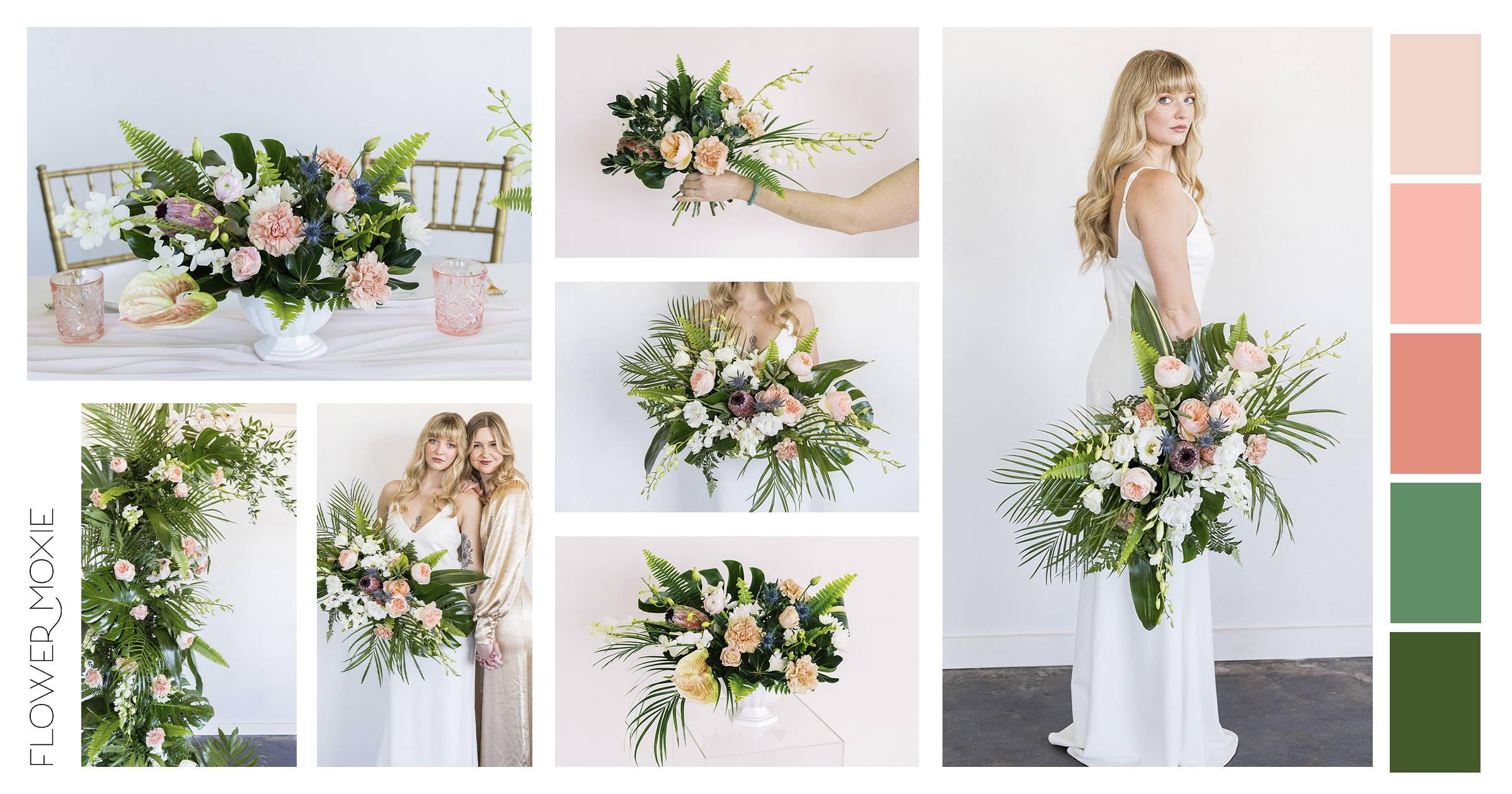 colorful beach wedding flower ideas
