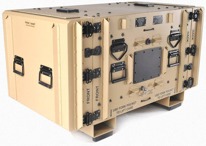 Beige military case with case hardware (handles and latches)