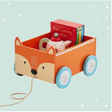wooden fox book cart