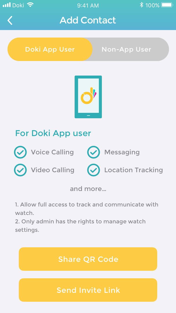 Add contact through QR code on Doki App