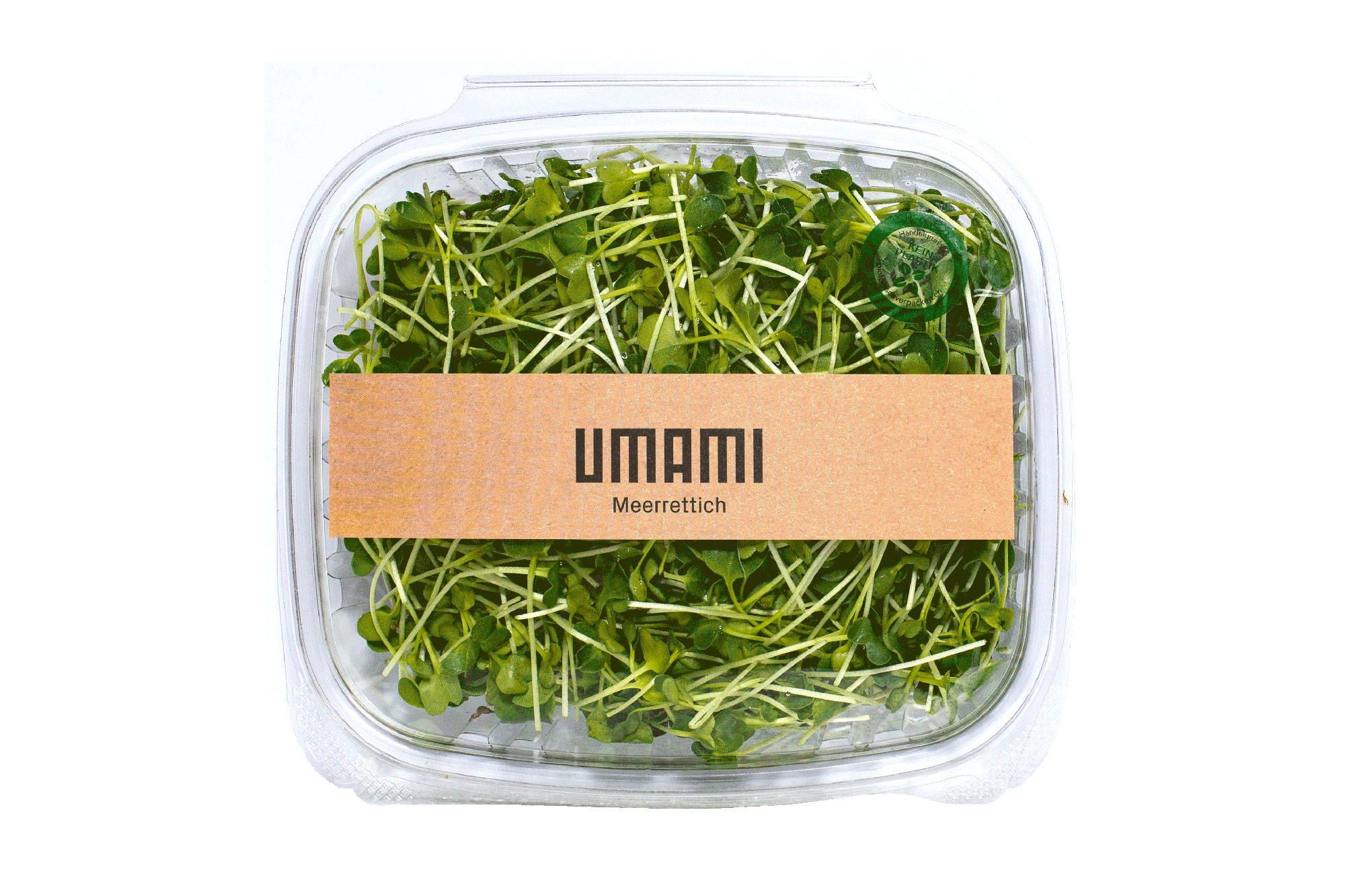 PLA Packung UMAMI Microgreens für die Gastronomie.