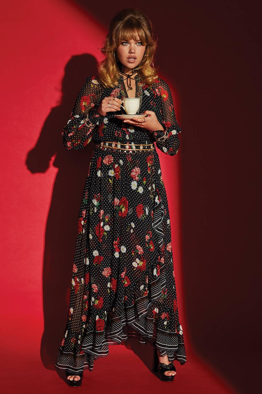 Woman wearing CAMILLA Blouson Sleeve Wrap Dress Coastal Parisienne