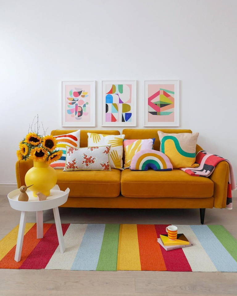 Stylish Mustard Velvet Sofa