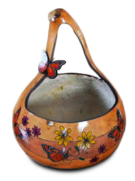 Beautiful gourd basket with flowers and butterflies by Linda Pallis