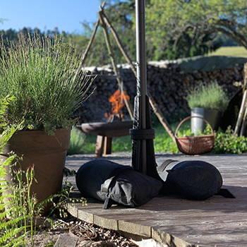 Baser Sonnenschirmständer Sandsäcke Schatten Holz Terrasse Garten