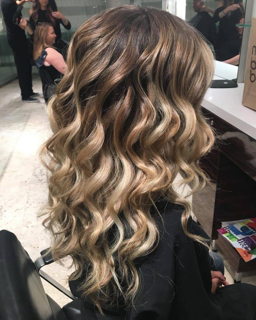 Ombré hair with waterfall curls