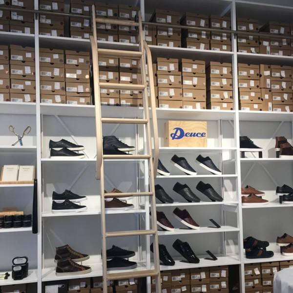 Retail storage shelving ladder
