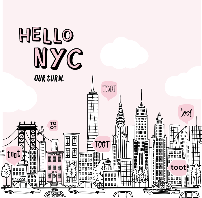 Illustration of the New York City skyline with pink toot speech bubbles coming off the buildings.