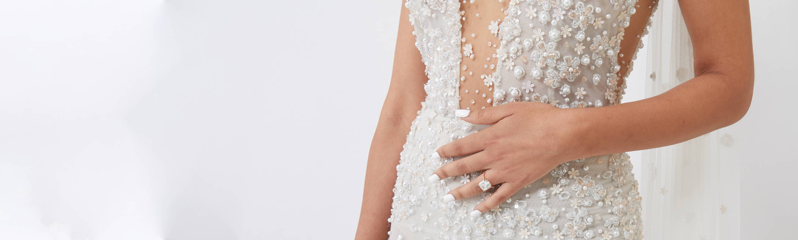 Model wearing Ring Concierge engagement ring, image by Loverly